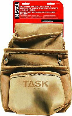 Task Tools T77210 Tradesperson's Leather Drywall Pouch 4-Pocket