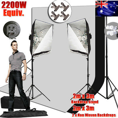 2x3M Backdrop Stand Set Softbox Photography Photo Video Studio Lighting Kit -HOT