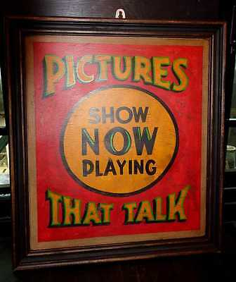 Unique Hand Painted Framed Vintage Style Talking Movies Wooden Sign