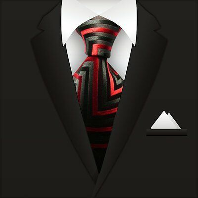 New Men's Red Black Striped Ties 100% Silk JACQUARD WOVEN Suits Tie Necktie A081
