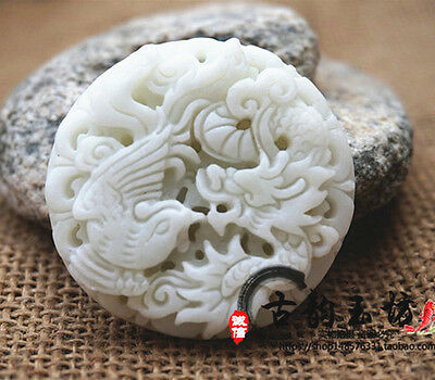 100% Crafted carved beautiful dragon Phoenix Lantian white jade pendants