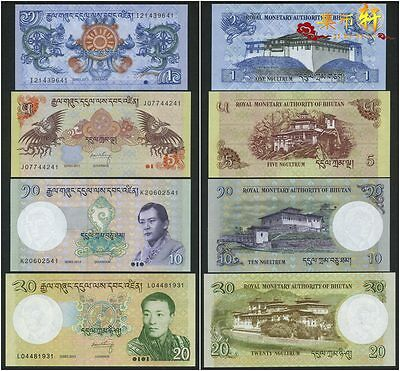 Set of 4Pcs Banknotes,Bhutan 1+5+10+20 Ngultru Paper Money Uncirculated