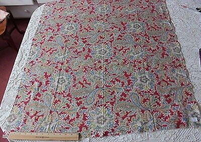 Antique American Printed Cotton Turkey Red Paisley Fabric c1910~Quilting Weight