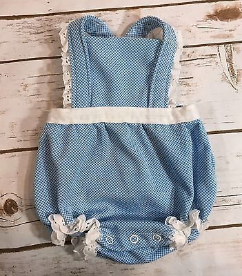 Vintage 80s Carters Baby Girl Sunsuit Bubble One-Piece Romper Blue Gingham 9M