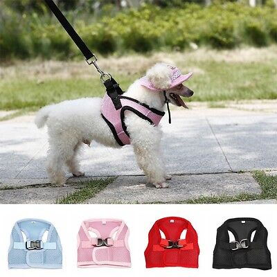 Dog Pet Puppy Soft Mesh Walking Collar Strap Vest Harness Cloth Chihuahua XS-XL