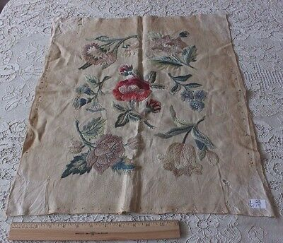 "Lovely Antique French 19thC Floral Hand Embroidered Fabric c1880~22""LX19""W"