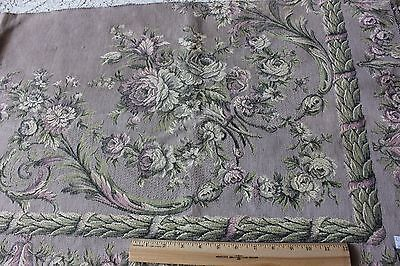 Antique French 19thC Partial Lavender Roses & Scolls Tapestry Fabric Panel