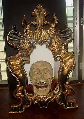 Beautiful Hand Carved Gothic Style Teak Wood Gilt Skull Cabinet