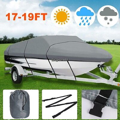 New Gray Waterproof Heavy Duty Boat Cover For 17-19ft Ship w/ Carrying Bag Fold