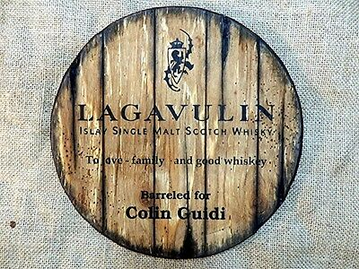 Personalized decorative Sign - whiskey barrel top | Hand painted Lagavulin Whisk