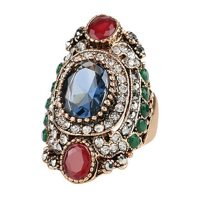 Ethnic tribal Turkey style sapphire resin rhinestone agate long statement ring!