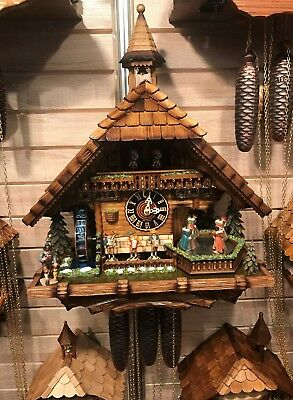 Cuckoo Clock Black forest house, turning mill-wheel with flowing.. HO 86200T NEW