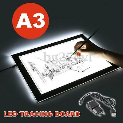 Ultra Thin A3 LED Light Box Drawing Lightbox Design Stencil Pattern Tracing Pad