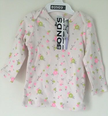 Size 000 Baby Girls Bonds Newbies Floral Long Sleeve Top BNWT