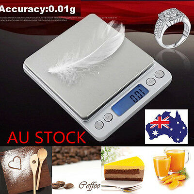 Electric Scale Digital Scale Jewelry Scale Balance Kitchen Bake Scale + 2 Trays