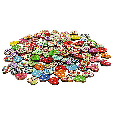 100 Multicolor 2 Holes Wood Sewing Buttons Scrapbooking Knopf Bouton Q2R7