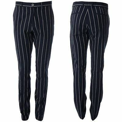 Gabicci Vintage Mens Navy Tailored Striped Patterned Pants Trousers Size 32R-40L