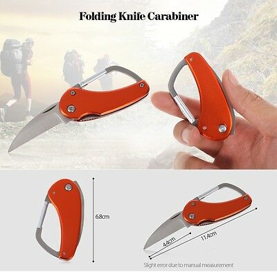 Stainless Steel 2 inch Pocket Knife Carabiner Coltellino tasca
