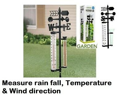 Outdoor Lawn Lab Garden Weather Station Thermometer Rain fall Weather vane gras