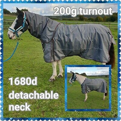 """Limited Edition Blue Check 100G Combo Turnout Rug Sizes 4""""9 / 7Ft"""
