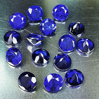 Beautiful 9.35 Ct Round Shape 5.00 Mm Lot Of 15 Pc Blue Sapphire (Lab Corundum)