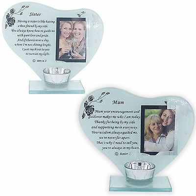 Glass Photo Frame Poem Moments Plaque Ornament Grave Memorial with Candle Holder