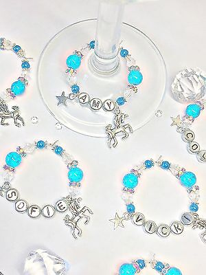 Personalised Unicorn Wine Glass Charm :mothers Day Birthday Hen Party Prom Gift