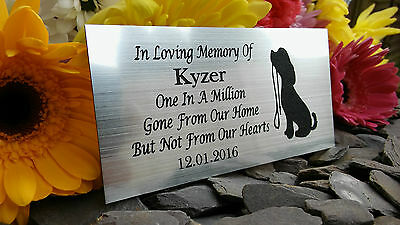 Personalised Engraved Pet Memorial Plaque Dog With Lead Silver 10X5Cm (A14)