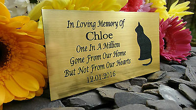 Personalised Engraved Pet Memorial Plaque Cat Silhouette  Gold 10X5Cm (A15)