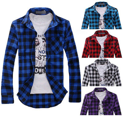 Men's Long Sleeve Casual Check Print Cotton Flannel Plaid Shirt Tops T-shirt