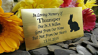 Personalised Engraved Pet Memorial Plaque Rabbit Silhouette Gold 10X5Cm (A16)