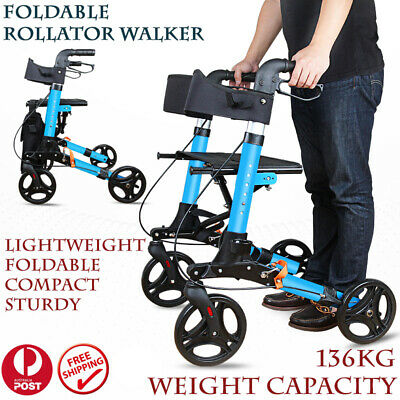 Rollator Walker Walking Frame Foldable Mobility Age Aid Care Indoor Outdoor Bag