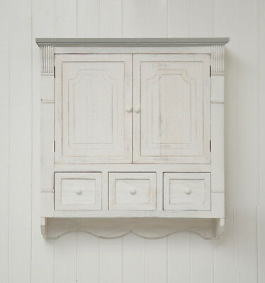 French Inspired White and Grey Shabby Chic Wall Cabinet Marseilles Cupboard Stor