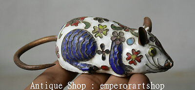"4"" Old Chinese Cloisonne Copper Zodiac White Mouse Rat Animal Statue Statuary X"