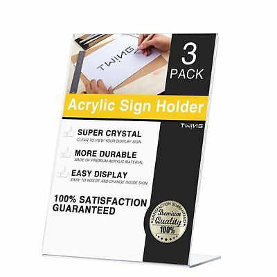 TWING Table Sign Display Holder -Slant Ad Frame Brochure Holder - Clear Acrylic