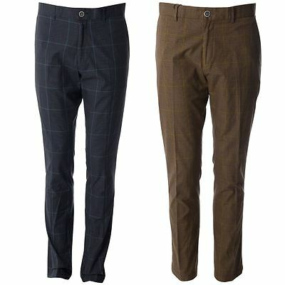 Gabicci Vintage Mens Tailored Check Patterned Pants Designer Trousers 30R-40L