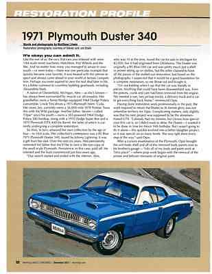1971 Plymouth Duster 340  ~  Great 4-Page Restoration Article / Ad