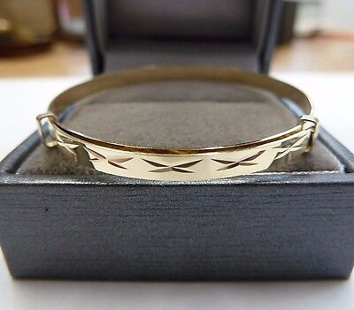 New 9ct Gold Baby/Childs Expanding Patterned Bangle * Christening Gift * 1.9 g