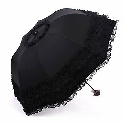 Sunshade Umbrella, Yamix Dome Princess Lace Sun-rain Umbrella Twice Folding Sun