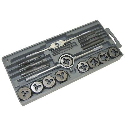 20Pc Tap And Die Set Metric Wrench Cuts M3-M12 Bolts Engineers Kit Warranty
