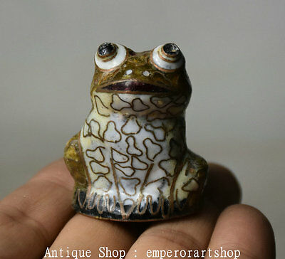 "1.6"" Old Chinese Cloisonne Copper Dynasty Frog Toad Animal Statue Figurine"
