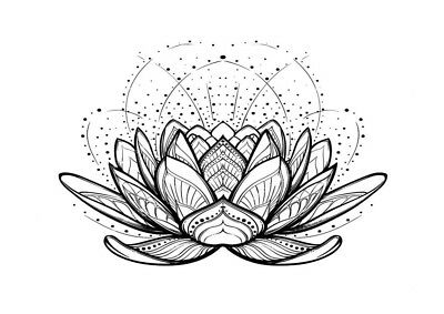 High Quality 6.5cm x 5cm Temporary Tattoo Lotus Mandala Waterproof Body Art