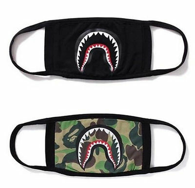 New Quality Product Bape A Bathing Ape Shark Camo Mask Black Cosplay Mouth Masks