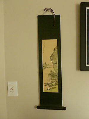 Japanese Painted Silk Scroll with Pale Colors