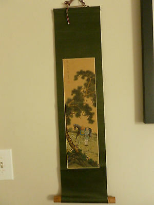 Japanese Painted Silk Scroll with Dark Colors