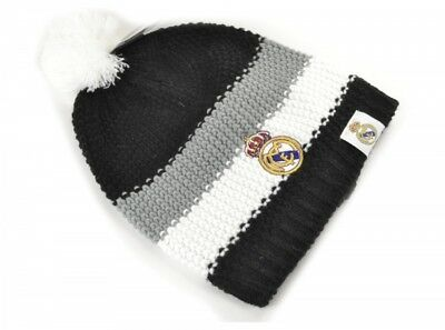 Real Madrid Knitted Bobble Hat Warm Black White Winter Football Badge Official