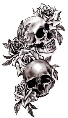 High Quality 9cm x 5cm Fake Tattoo Skull With Roses Waterproof Temporary Art