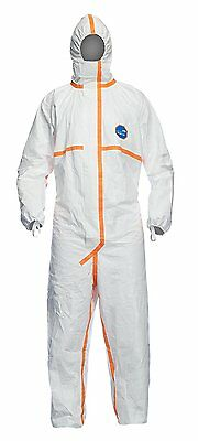 DuPont TJ198TWHLG0025PI 800J Tyvek Chemical Protective Coverall Suit, Ce Cat