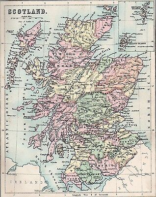 Map of Scotland 1893  Original Antique