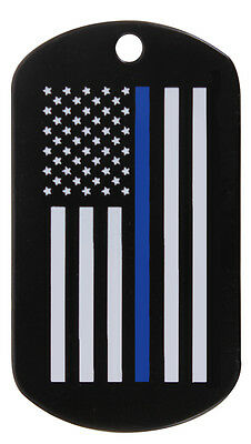 Support Police Thin Blue Line Lives Matter USA Flag Military Army Style Dog Tag